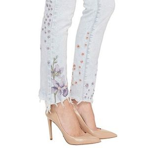 Embroidered Skinny Jeans In Late Bloomer Blank NYC